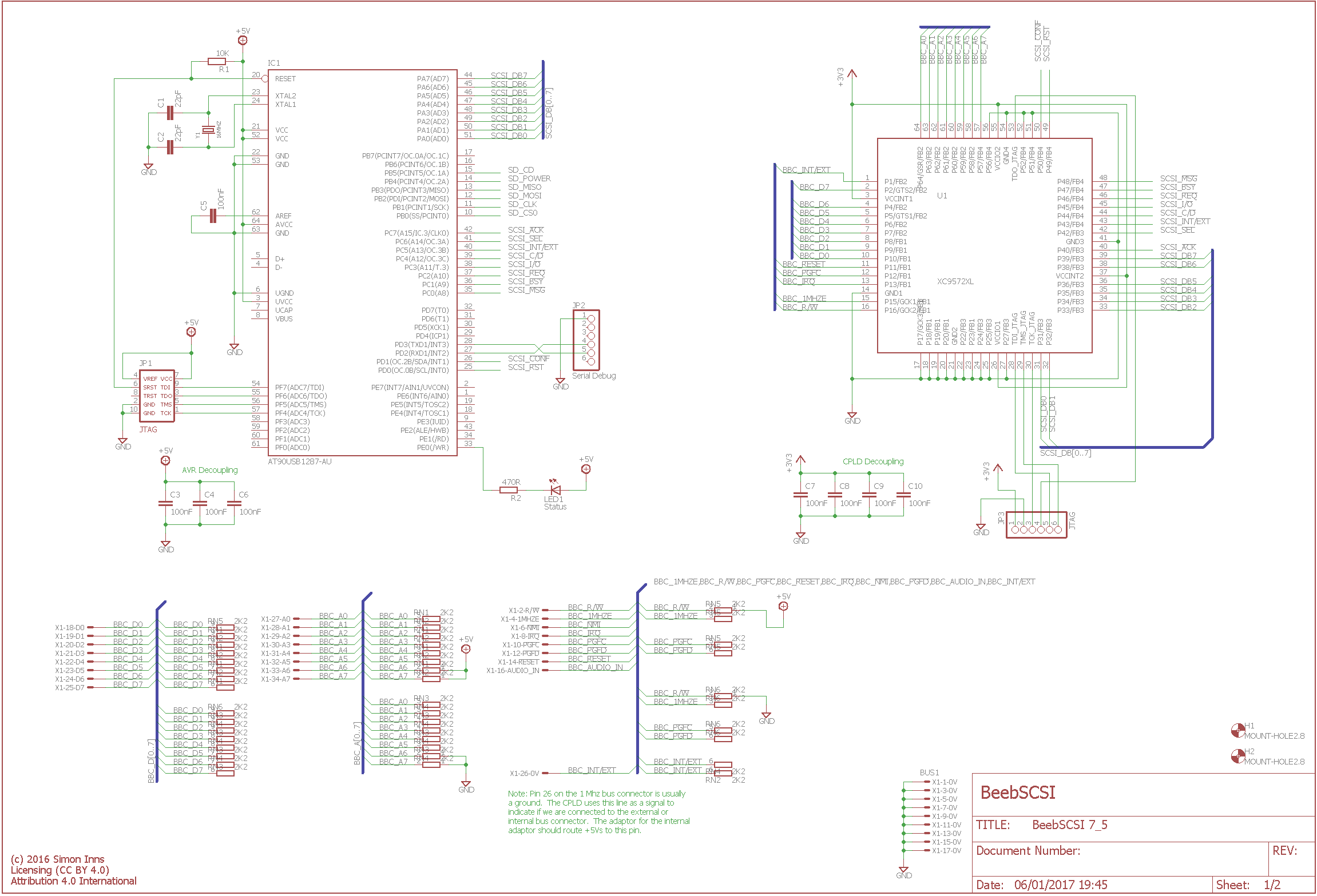 BeebSCSI Schematic 7_5 Sheet 1